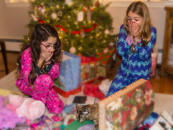genuine Christmas morning surprise faces